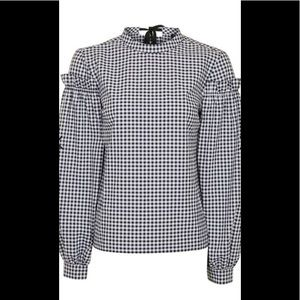 NWT Topshop Women's Gingham Mutton Sleeve Blouse